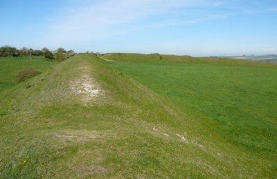 "Part of the earthworks at Poundbury Hill"" hspace="