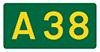A38 road sign