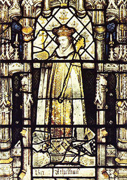 King Athelstan a stained glass window in All Souls College Chapel Oxford