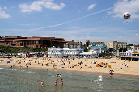 "Bournemouth Beach from the Pier"" hspace="