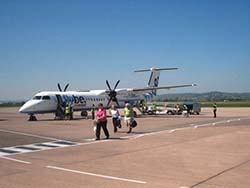 Flybe aircraft arriving at Exeter airport