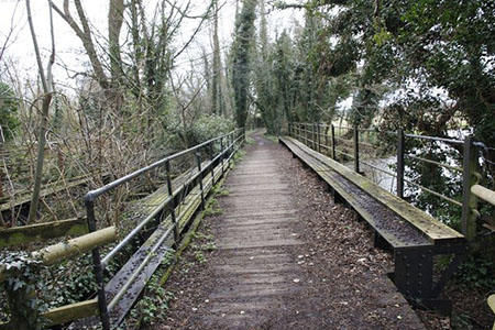 "Footbridge on the Test Way in winter"" hspace="