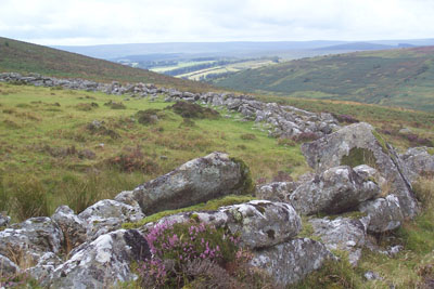 Grimspound, a Bronze Age village in the ancient landscape of Dartmoor
