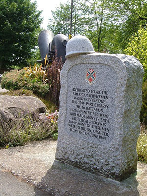 """The Inscription on this memorial reads: <br>Dedicated to all the American Servicemen based in Ivybridge 1943-1944 particularly the 1st Battalion 116th Infantry Regiment who made many friends with local residents. Sadly many of these men were to die on, or after, D-Day the 6th June 1944 """" hspace="""