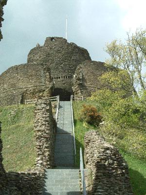 Launceston Castle showing the steps