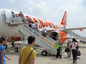 Passengers boarding at Bristol Airport