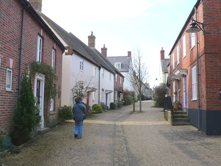 "A village like street in Poundbury, people centred"" hspace="