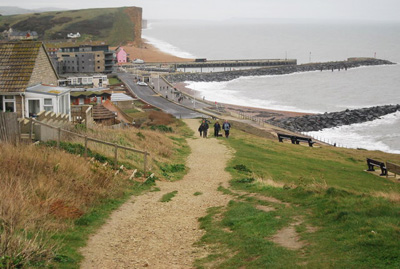 "Looking down on West Bay from the South West Coastal Path"" hspace="