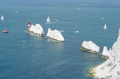 "The Leaders of the Round the Island Race pass the Needles"" hspace="