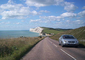 Downhill run on the coast of the Isle of Wight