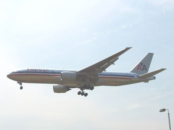 """American plane coming into land at Heathrow"""" hspace="""