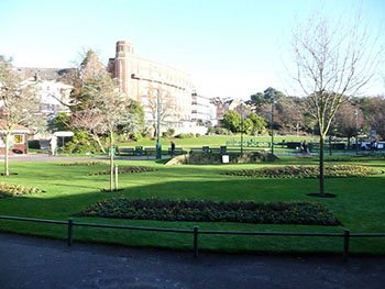 Looking across the lawns of the Lower Gardens towards Bournemouth