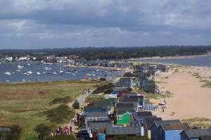 A view of the chalets on the sandbar at Mudeford