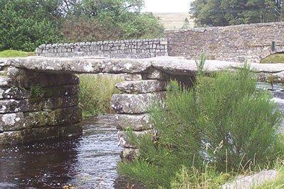 The fourteenth century clapper bridge at Postbridge