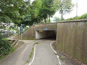 """The entry of Cycle Way 21 as it disappears to go under the South Terminal at Gatwick Airport""""  hspace="""