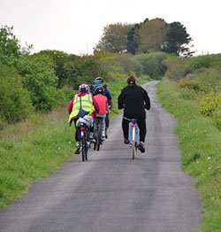 "Cyclists on the Tarka Trail in Devon"" hspace="