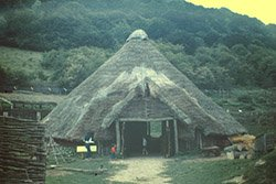 """An Iron Age Farmhouse recreate where it stood  on Butser over a thousand years ago"""" hspace="""