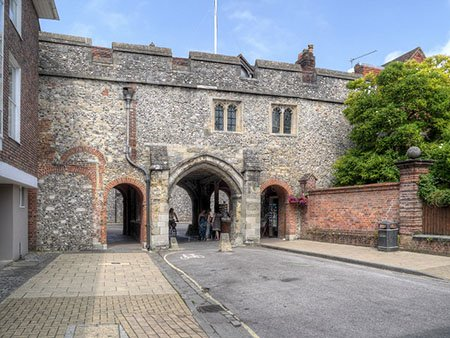 """Kingsgate with St Swithun's Church above"""" hspace="""