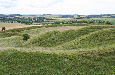 "Part of the earthworks of Maiden Castle"" hspace="