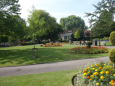 Pretty park alongside High Street