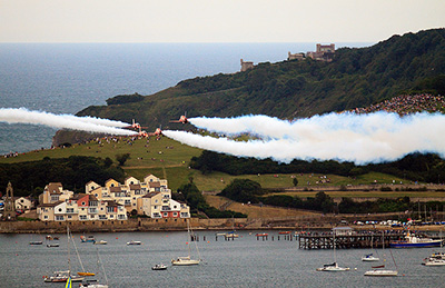 "The Red Arrows at Swanage Carnival in 2011"" hspace="