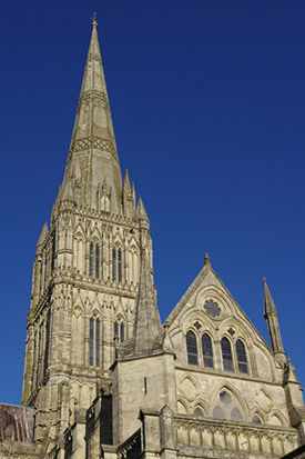 "The dizzy heights of Salisbury Cathedral Spire"" hspace="
