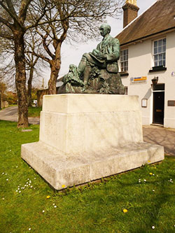 """Statue of Thomas Hardy in The Grove"""" hspace="""
